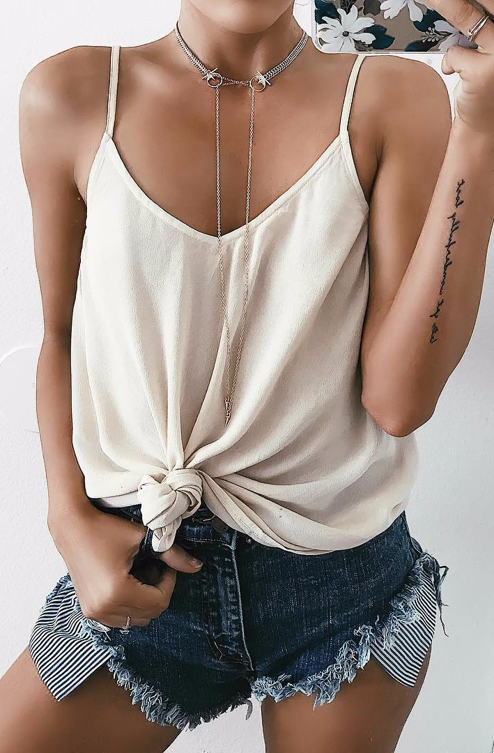 nude shades / silk tank + shorts