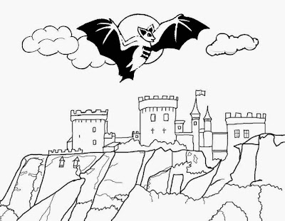 Transylvania moonlight mountain top Count Dracula castle black bat Halloween vampire coloring pages
