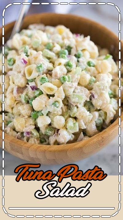 This Tuna Pasta Salad with shell noodles, peas, tuna, celery, and Greek yogurt is fast, healthy, and a dish your whole family can enjoy! #HEALTHY