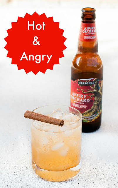 Hot & Angry, Angry Orchard Cinnful Apple, tequila, lime juice, pineapple juice, simple syrup, cholula hot sauce, fall cocktails, autumn cocktails, apple cocktails