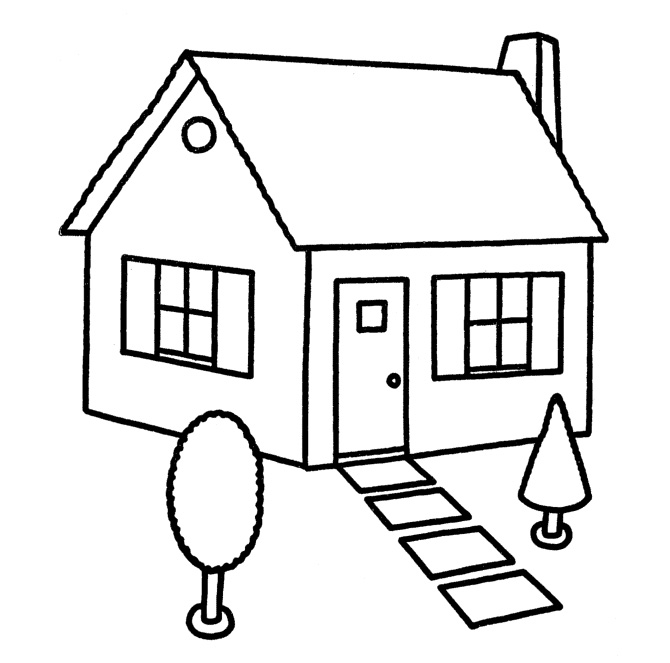 People And Jobs Coloring Pages For Kids: Houses Colouring
