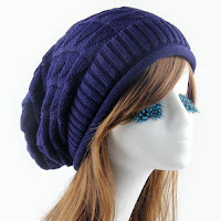 Triangle Jacquard Knitted Slouchy Beanie - Cadetblue