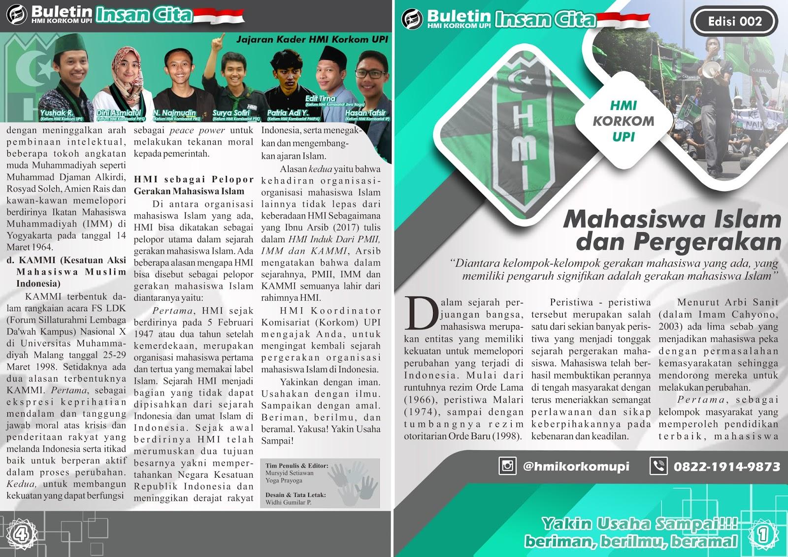 MAHASISWA ISLAM DAN PERGERAKAN Buletin 002 1