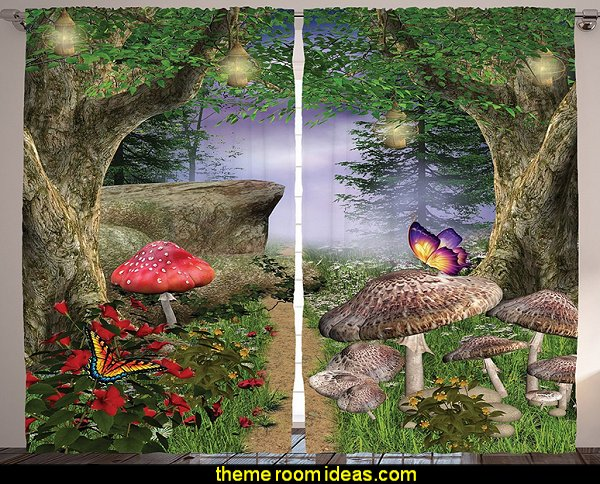 Mushroom Nature Butterflies Fairytale Magical Rocks Design