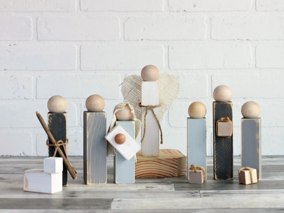 clever nest shop etsy nativity set neutral colors