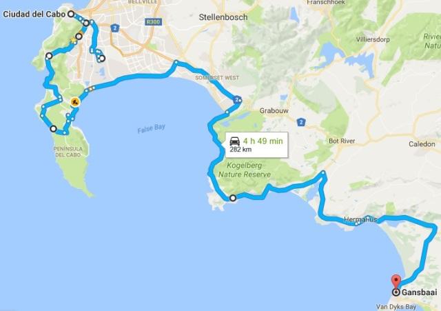 Itinerario aproximado de la Ruta 1