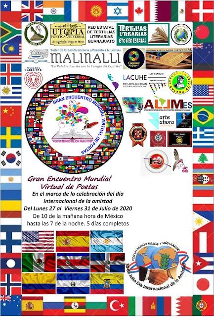 Afiche del Gran Encuentro Mundial Virtual de Poetas