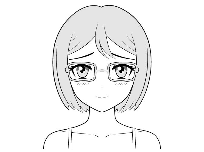 Anime gadis kutu buku menggambar wajah malu-malu