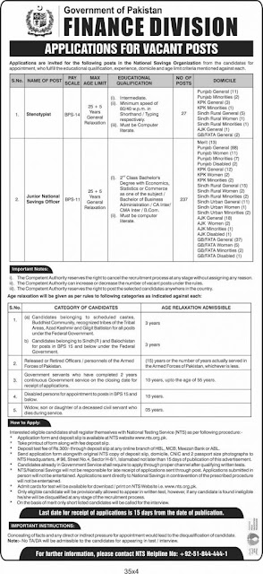 Jobs In Finance Division 2020 For Saving Officer and Stenotypist (237 Posts)