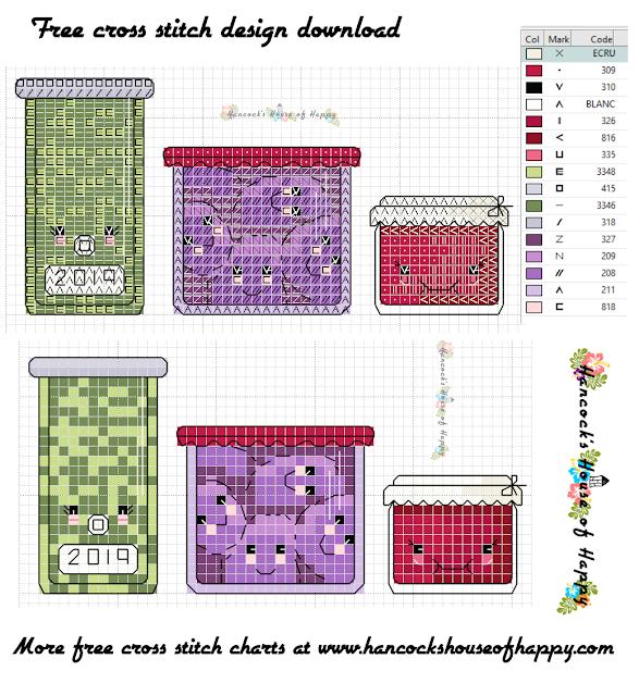 Fall Fair Week! Cute Kawaii Mason Jars Cross Stitch Pattern to Download for Free