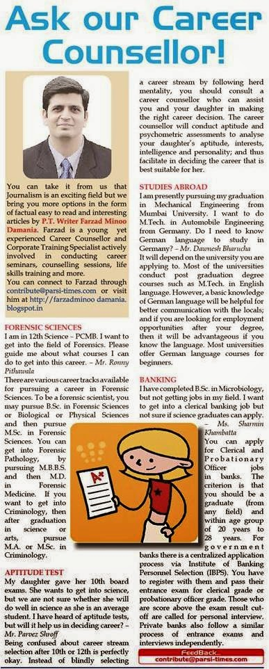 Ask Our Career Counsellor - by Farzad Minoo Damania in Parsi Times