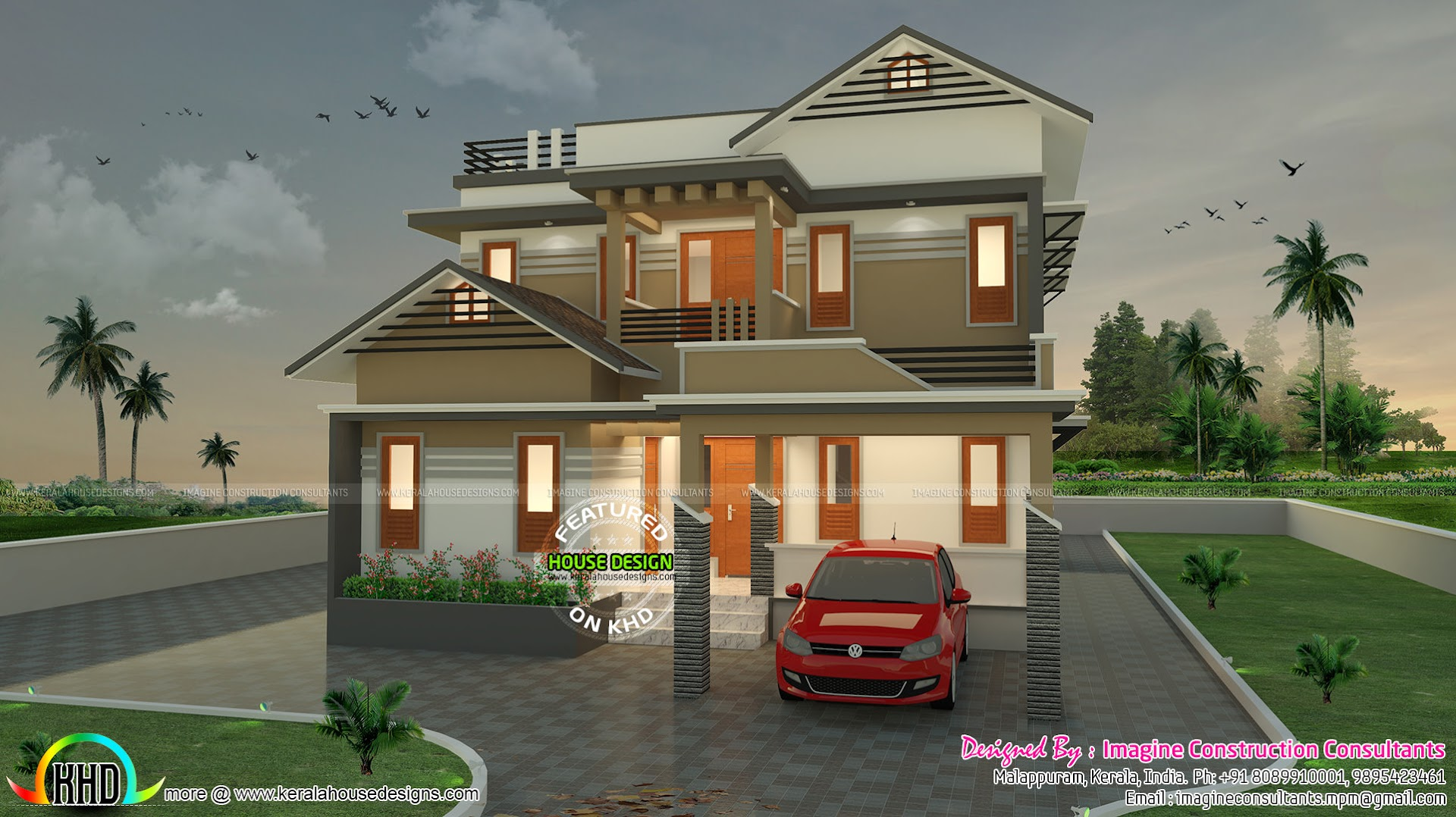 1900 sq ft modern sloping roof house architecture kerala for 1900 architecture houses