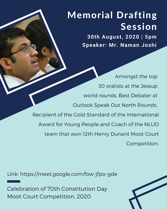 [Online] Session on Memorial Drafting by National Law University, Delhi [Register Soon]