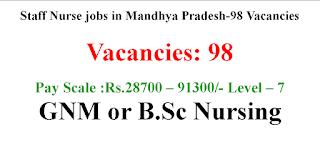 Staff Nurse jobs in Mandhya Pradesh-98 Vacancies