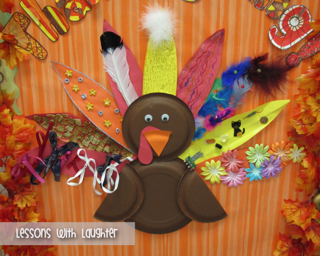 Thanksgiving Door Decor Lessons With Laughter & decorating a turkey paper | Decoration For Home