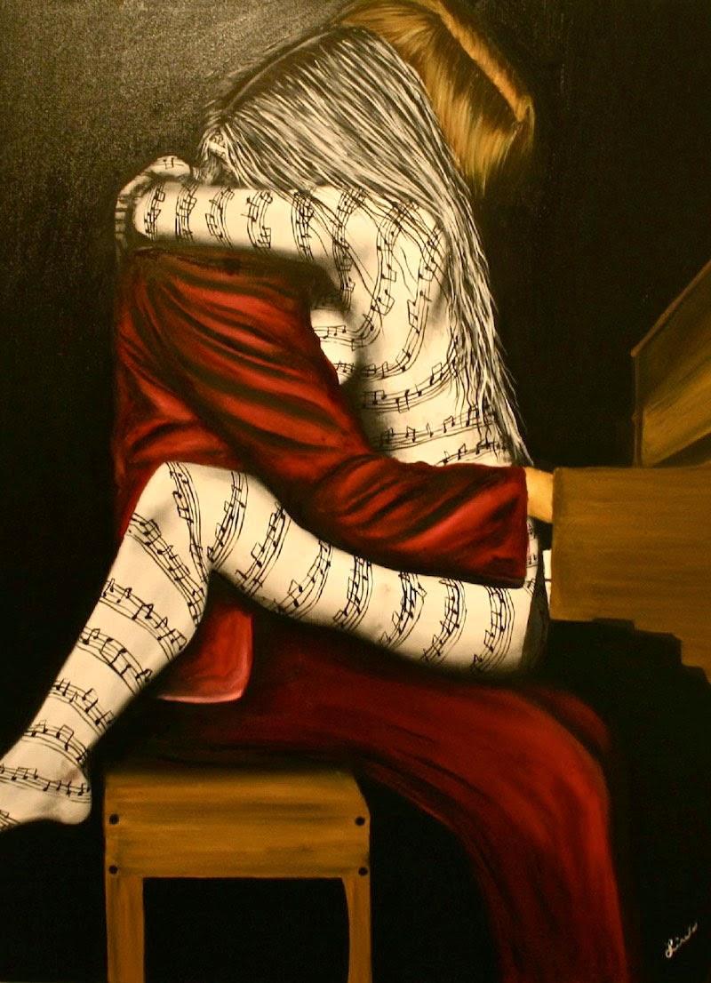 A Música -  Pinturas de Lisete Alcalde | O pintor que toca o coração