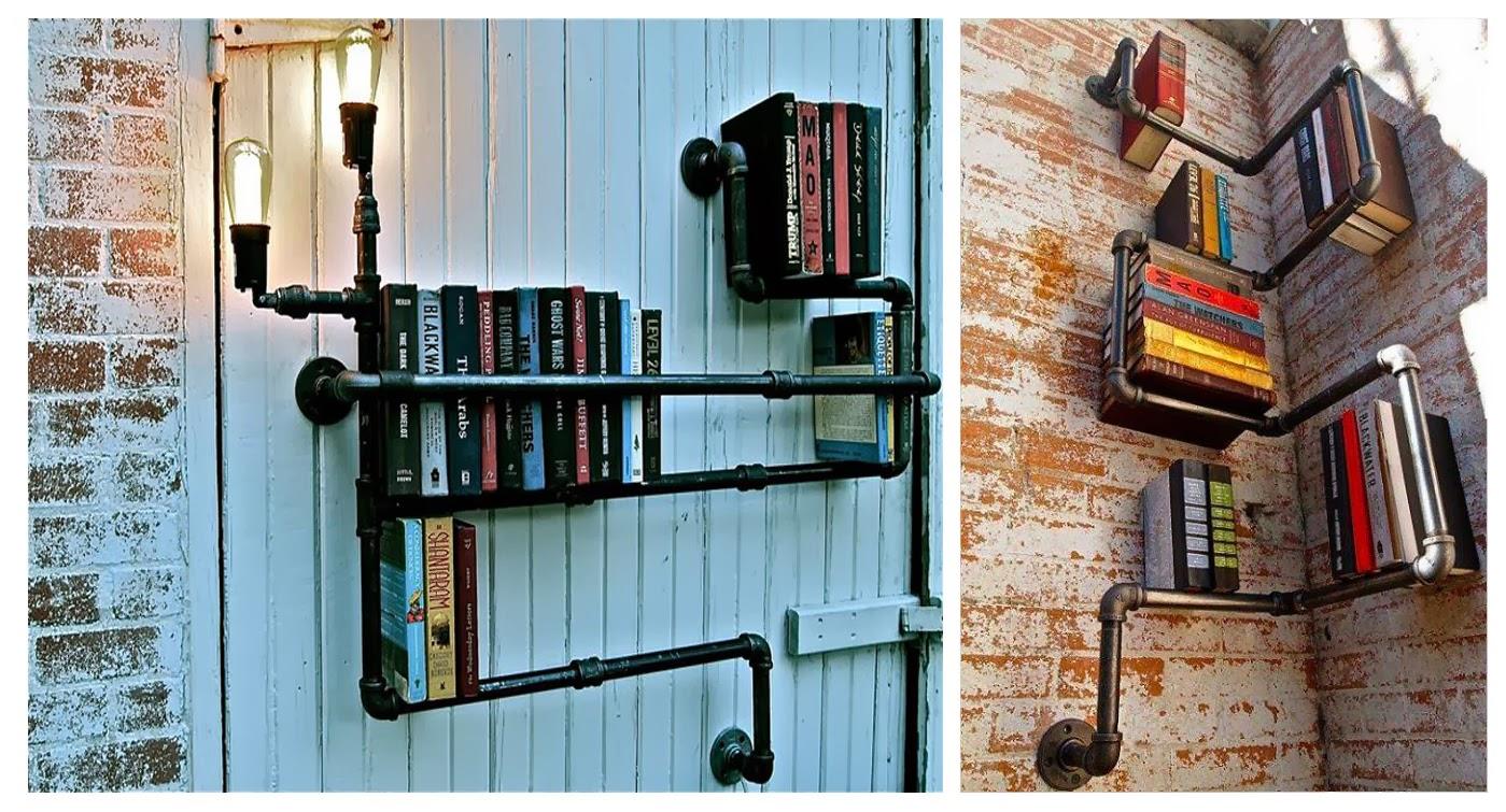 Rogiamstore come realizzare una libreria industriale con tubi idraulici - Parete attrezzata fai da te ...