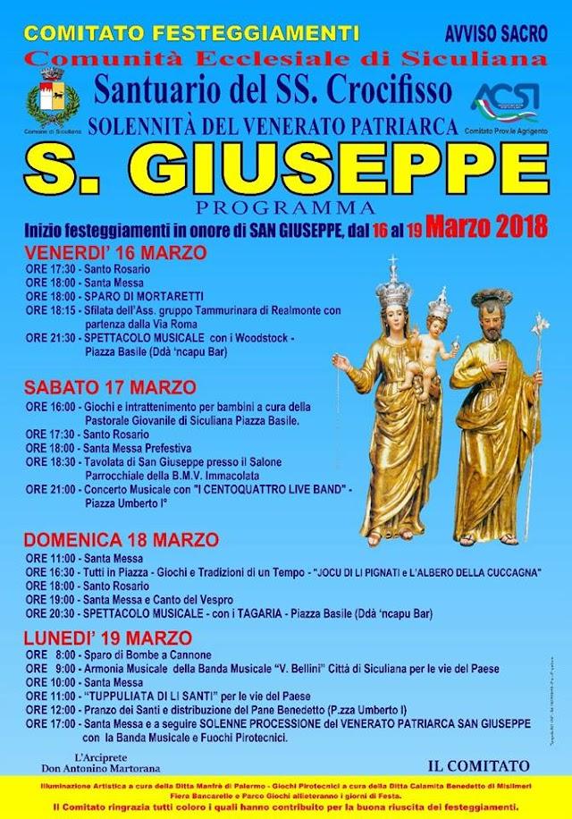 Festa di San Giuseppe, il programma degli eventi