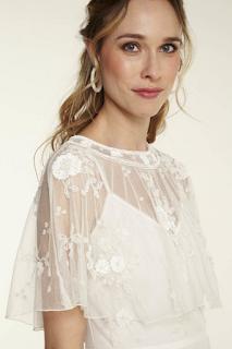 bolero en voile brodé de perles collection mariage en vue naf naf 2019