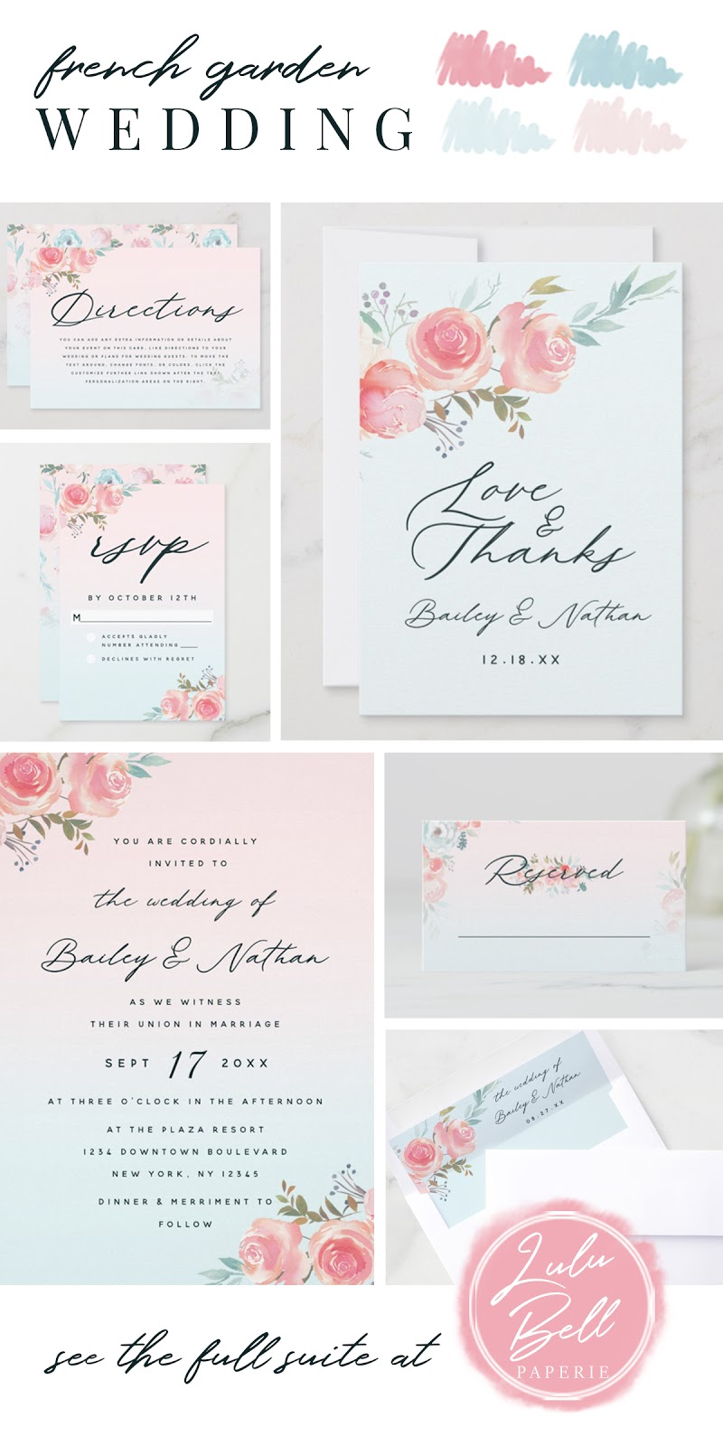 French Garden Floral Wedding Suite - Wedding Directions Card, Love and Thanks Cards, RSVP Cards, Invitations, Reserved Place Cards, and Envelope Liners