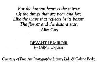 "POEM ON BACKSIDE OF THE ""DE VANT LE MIROIR"" FRIENDSHIP CARD"
