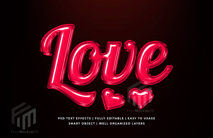 Love 3D Text Style Effect Mockup
