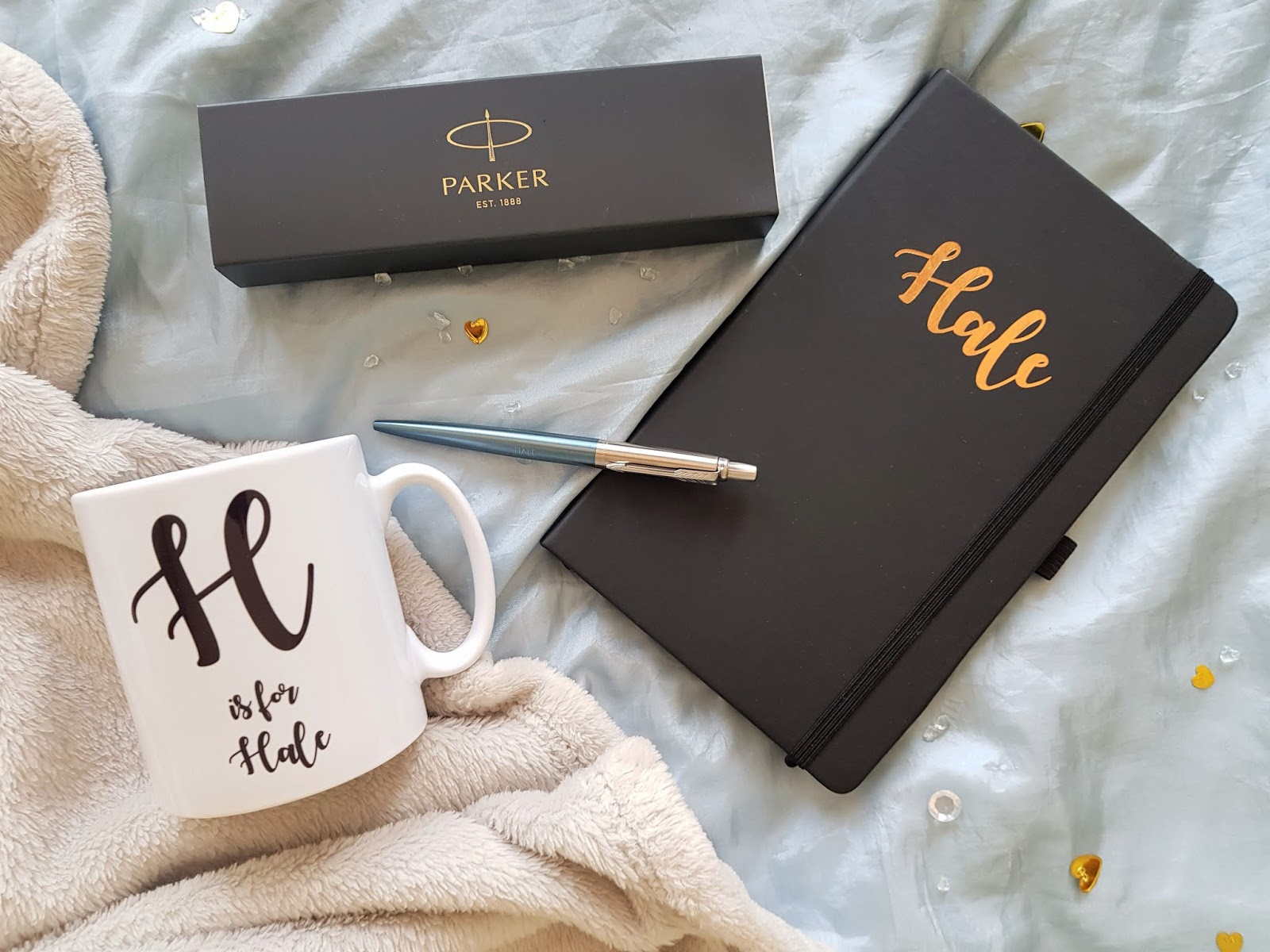 Ryman's personalised notebook, mug, and Parker jotter