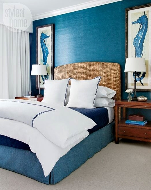 Blue Bedroom with Grasscloth Wallpaper Wallcovering