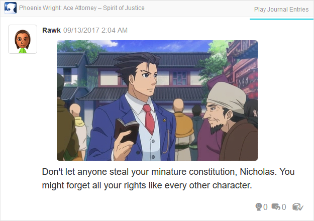 Phoenix Wright Ace Attorney Spirit of Justice guide book cutscene