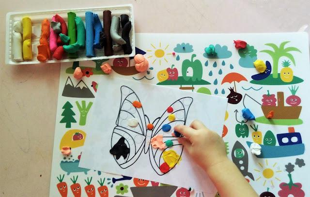 zabawy dla dzieci plasteliną , karty pracy do wyklejania plasteliną, kontury do uzupełnienia plasteliną i patch game