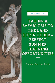 text: Summer Fun: Talking to Safari trip to the land down under - perfect summer learning opportunities - A Mom's Quest to Teach; photo of kangaroo