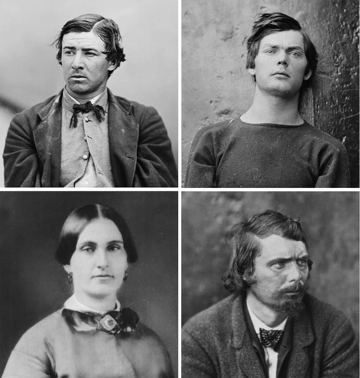 Los cuatro conspiradores condenados: David Herold, Lewis Powell, Mary Surratt y George Atzerodt (de izquierda a derecha).