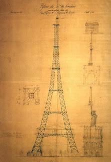 Projeto de Maurice Koechlin, Émile Nouguier  Domínio Público Wikimedia - Matéria Torre Eiffel - BLOG LUGARES DE MEMÓRIA