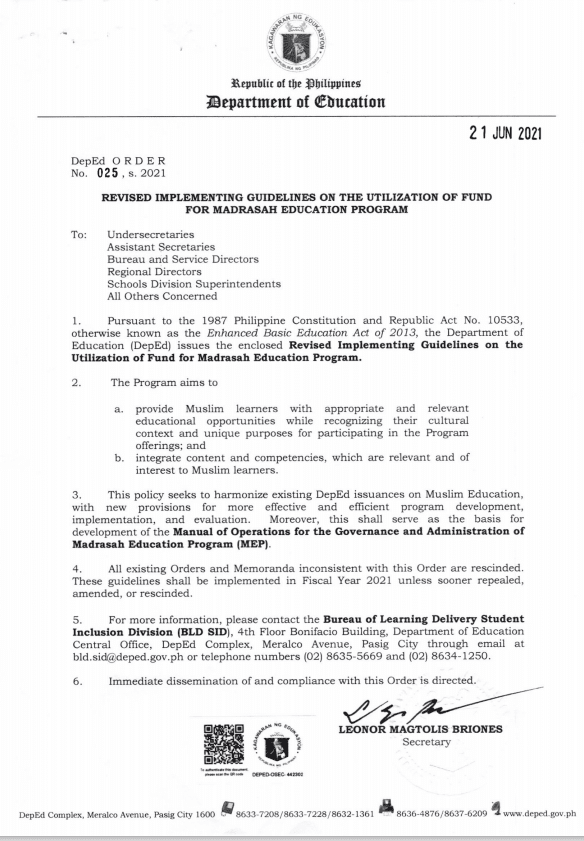 New DepEd Order 025: Revised Implementing Guidelines on the Utilization of Fund for Madrasah Education Program