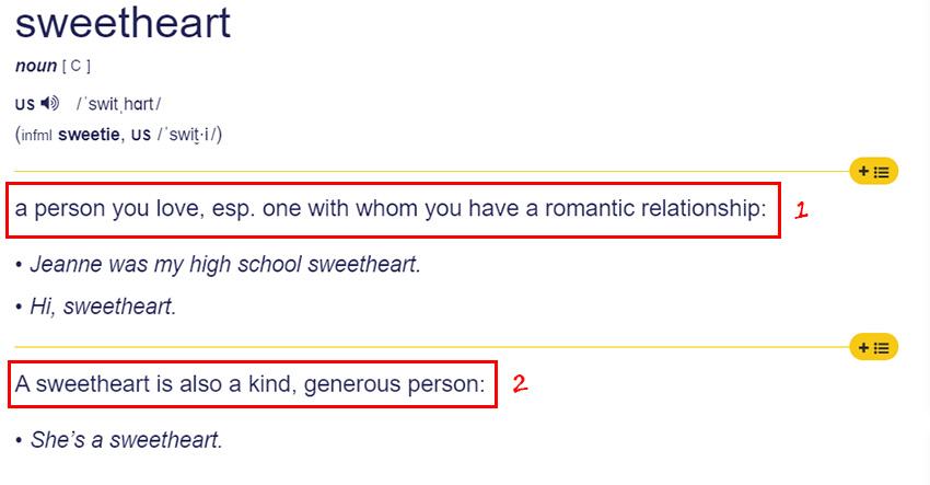 Arti Sweetheart Menurut Kamus