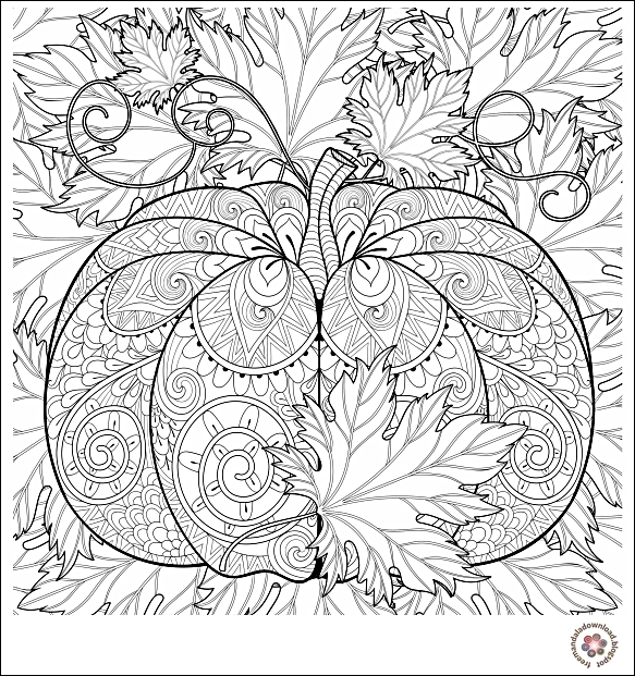 kürbis und blätter malvorlagen  free mandala coloring