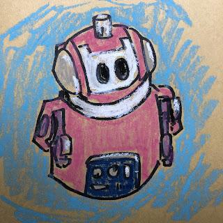 little pink robot drawing by artist David Borden