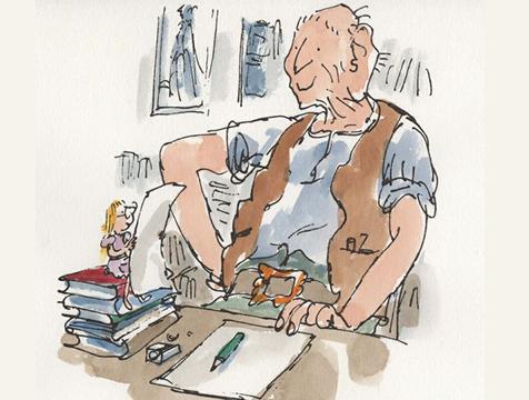 Dibujo de El gran gigante bonachón  con Sofía, de Roald Dahl y Quentin Blake - Cine de Escritor