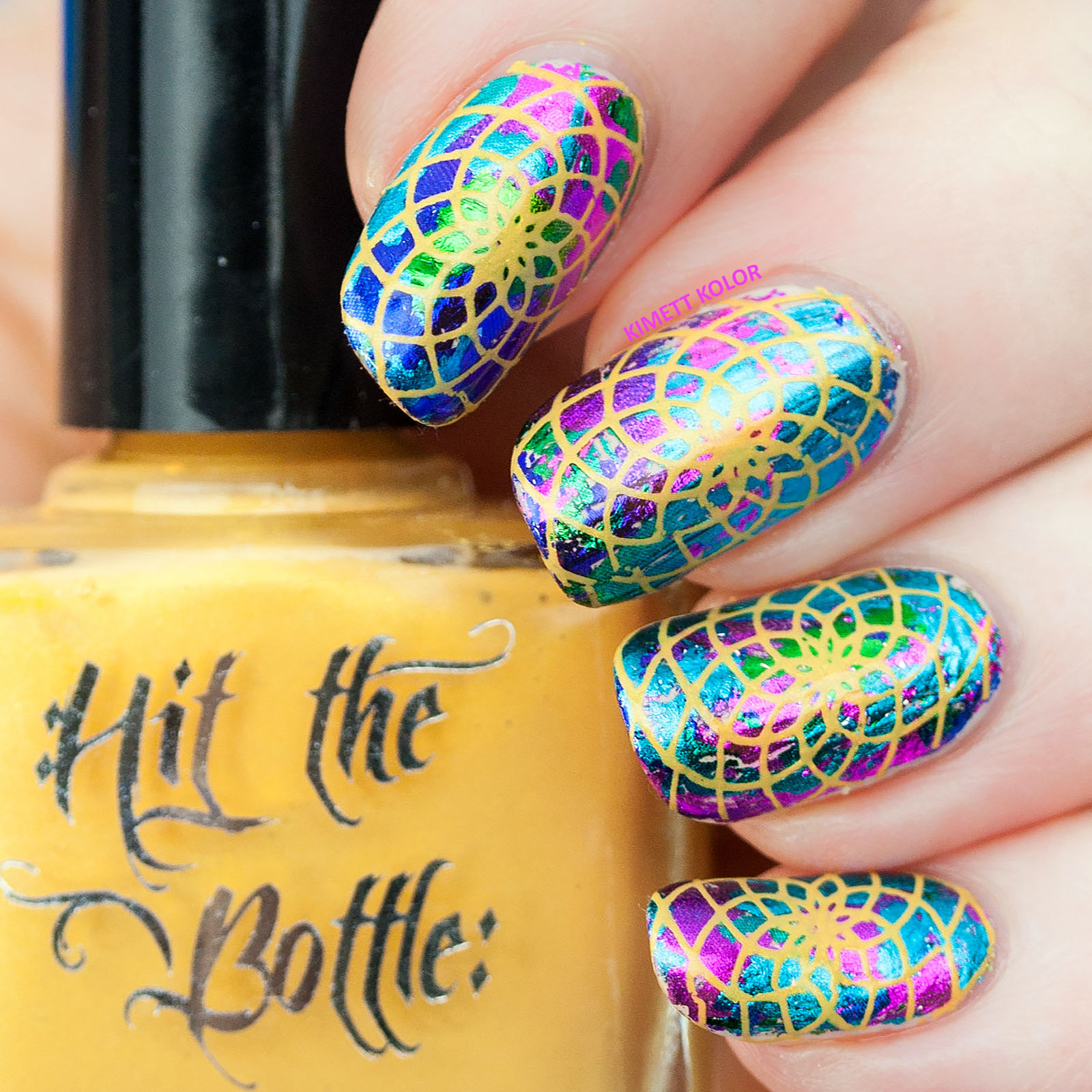 nail art stamping over foil with Hit The Bottle
