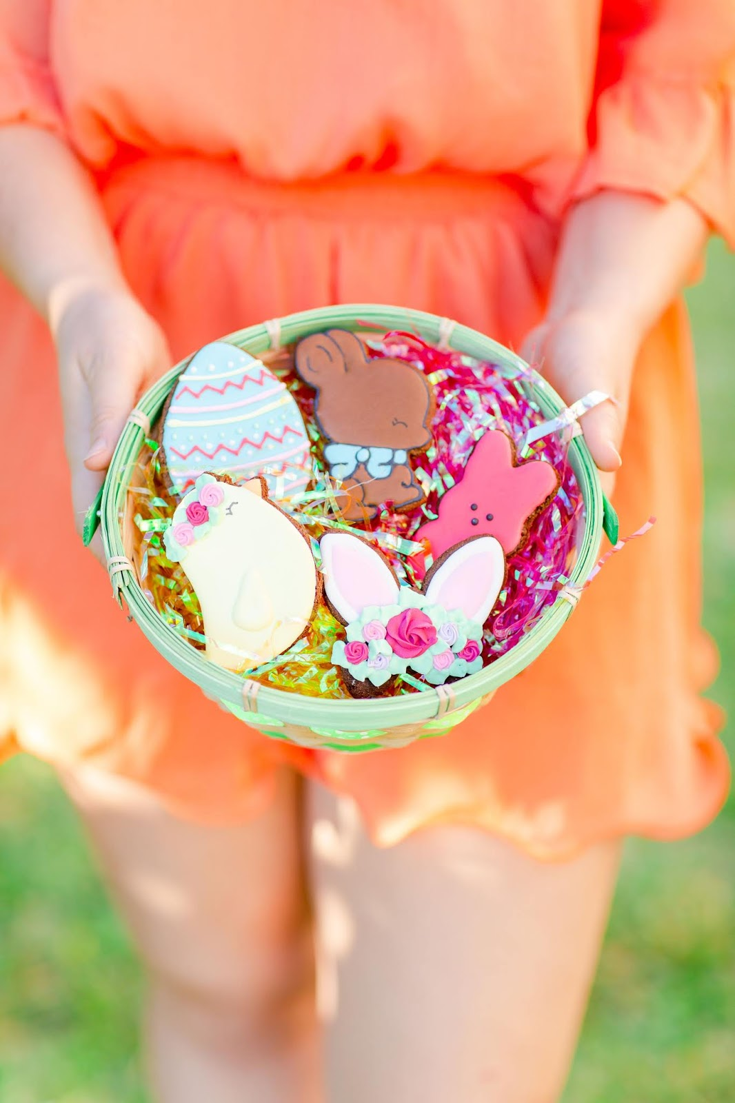 green Easter basket with Tasty Treat Company Easter horse treats