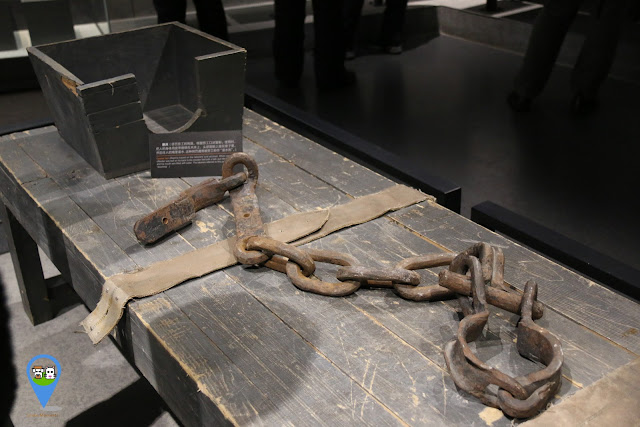 Replica caskte bed was used to tie the offender to the wooden bed with a belt and filled up the water all over his mouth as a punishment to the douching at Unit 731 Museum in Harbin, China
