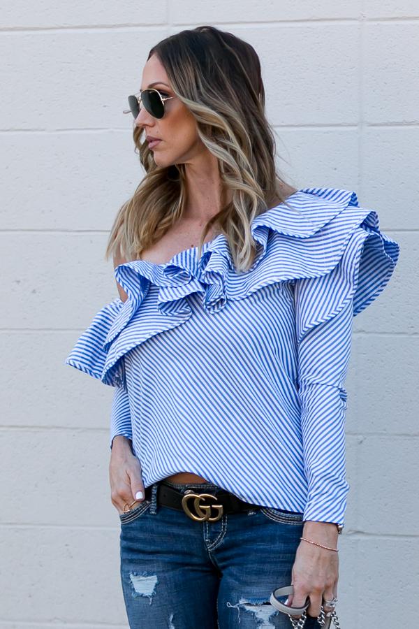 large ruffle one shoulder blouse