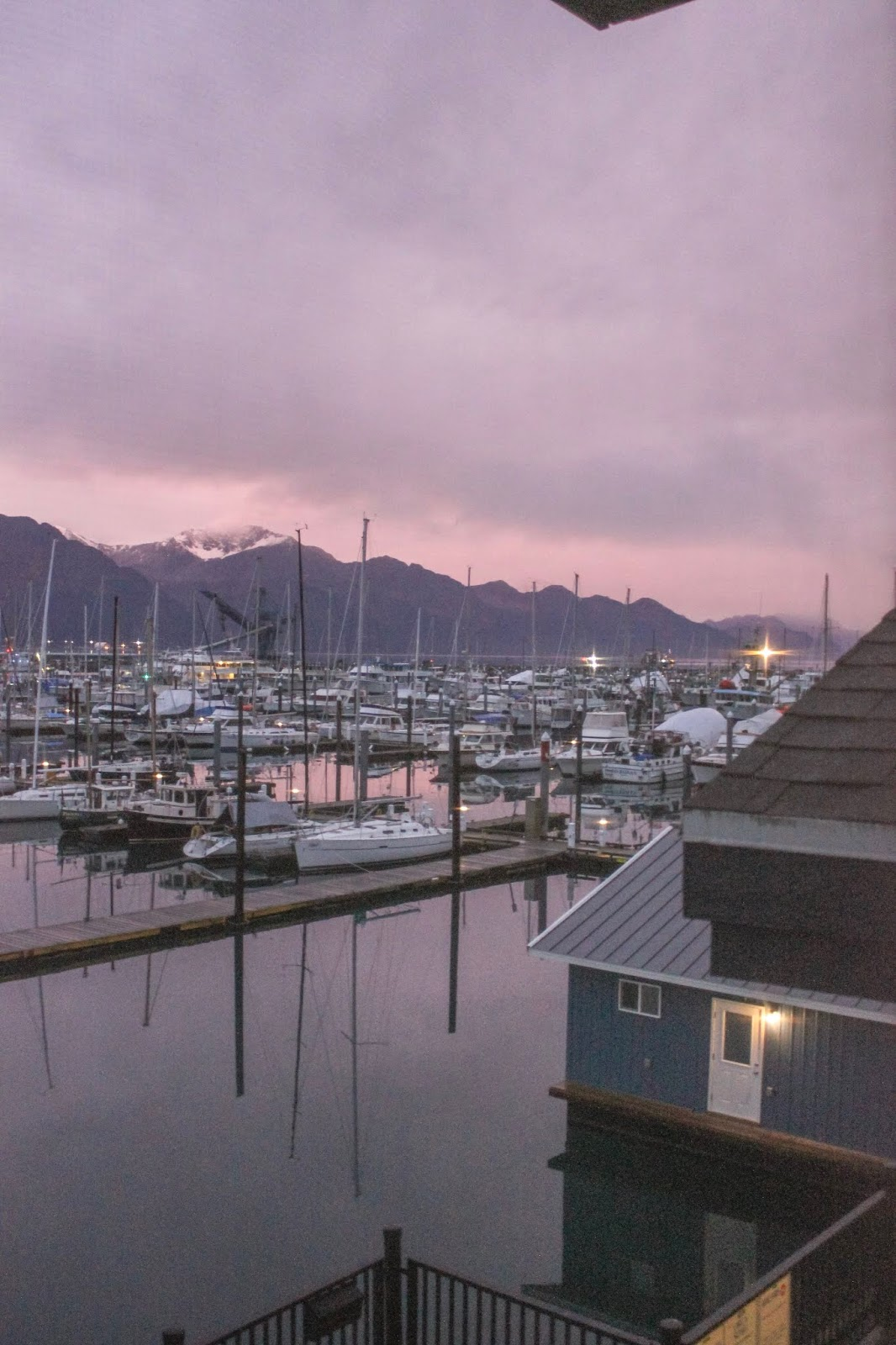 sunrise over Seward harbor Seward Alaska
