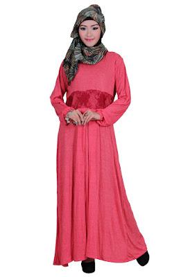 Model Gamis Pesta Mewah Muslimah Warna Pink Polos