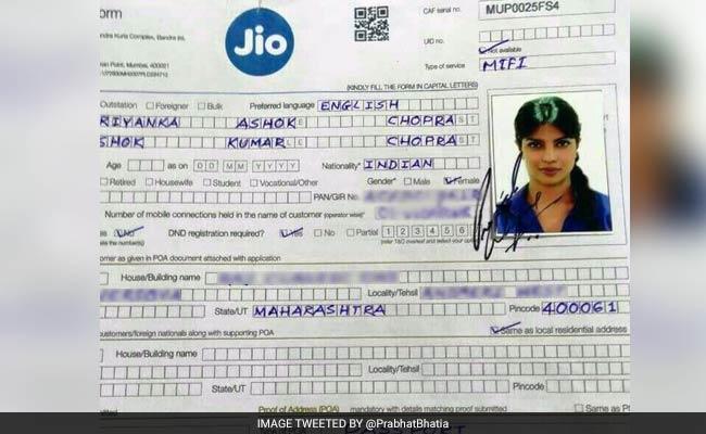 Priyanka Chopra Applied for Reliance Jio Sim Card
