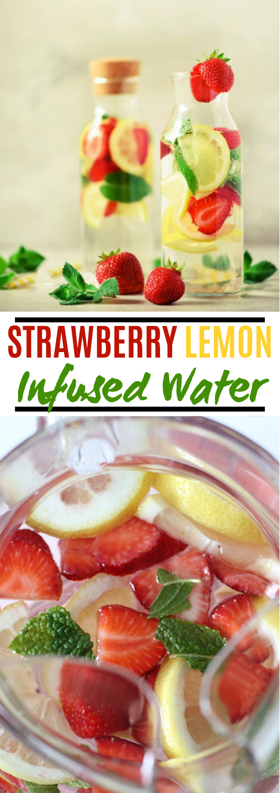 Strawberry Lemon Infused Water #drinks #healthy