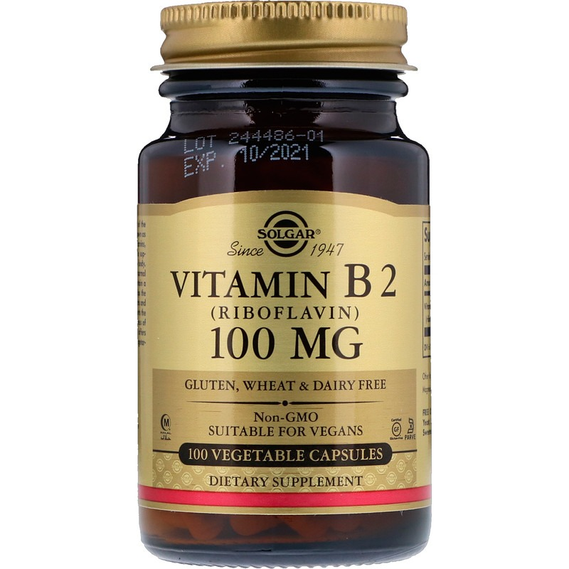 Solgar, витамин B2 (рибофлавин), 100 мг, 100 растительных капсул