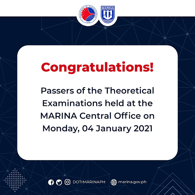 passers of the Theoretical Examinations for Marine Officers conducted at the MARINA