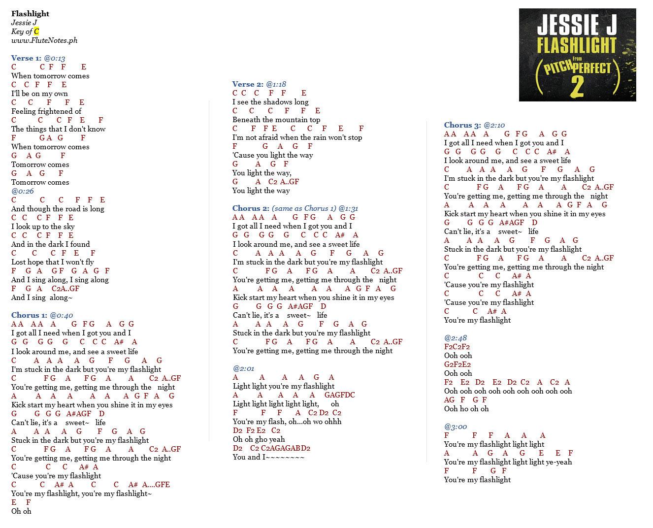 Flashlight - Jessie J | Music Letter Notation with Lyrics for Flute