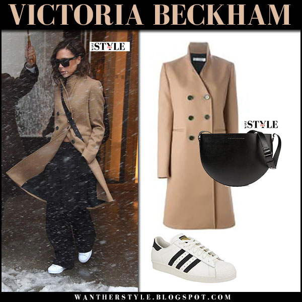 Victoria Beckham in camel coat and white sneakers adidas 80s superstar what she wore